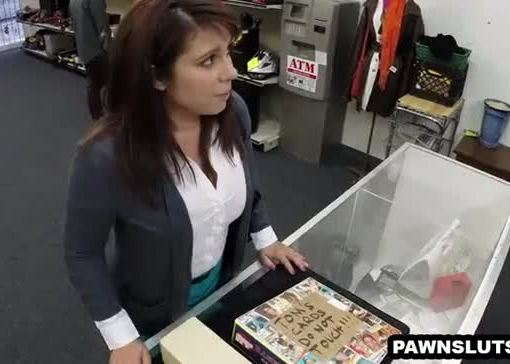 Busty brunette babe sucks cock at the pawn shop